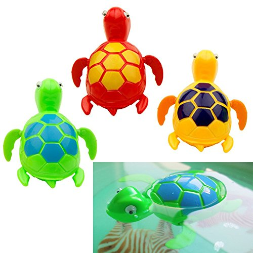LING'S SHOP 3Pcs Baby bath toys Floating Wind up Swimming Turtle Summer Toy For Kids Baby Child Pool Bath Time