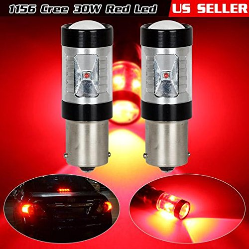 Partsam 2pcs Red Stop Brake light/ High Mount Stop light 60W High Power (30W for each Bulb) 6-Cree-XBD 1156 1156A P21W 280-350LM for Audi/ BMW/ MERCEDES-BENZ/ Volkswagen (2008 Vw Se Jetta Owners Manual compare prices)