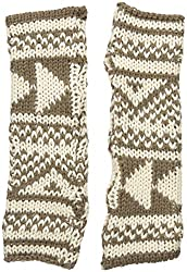 Woolrich Women's Geometric Arm Warmers Gloves Mittens, Warm Khaki/Wool Cream, One Size
