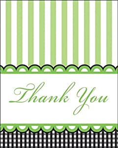 Creative Converting Sweet Baby Feet Green Thank You Notes, 8-Count