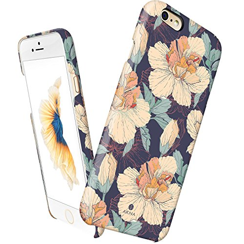 iPhone 6 case floral, Akna Vintage Obsession Series High Impact Slim Hard Case with Soft Fabric Interior for iPhone 6 [Retail Packing][Vintage Hibiscus Floral](U.S) (Iphone 6 Vintage Case compare prices)