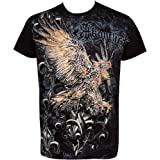 Clutching Eagle & Fleur De Lis Metallic Silver Embossed Short Sleeve Crew Neck Cotton Mens Fashion T-Shirt