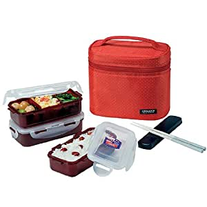 lock lock rectangular lunch box bento set w chopstics hpl754dr combo red. Black Bedroom Furniture Sets. Home Design Ideas