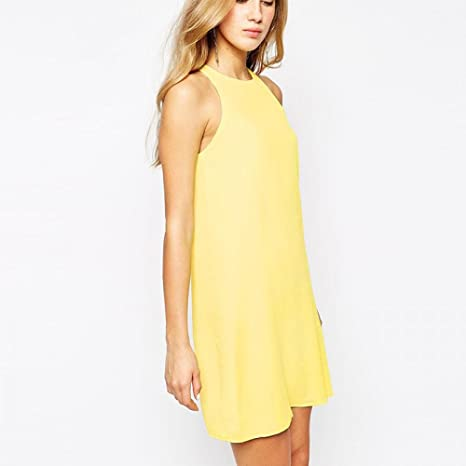 Yellow Tank Mini Dress by Enlishop