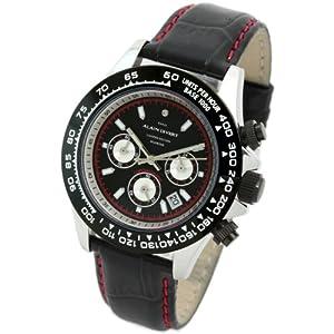 Alain Divert センター・クロノグラフ 100m防水 イタリア牛革 日本製ムーブメント メンズ腕時計