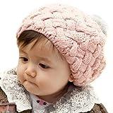 Baby Infant Boy Girl Knit Warm Beanie Crochet Rib Pom Pom Hat Cap Pink