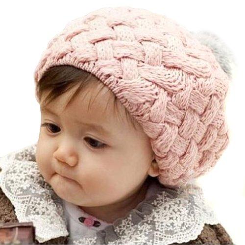 LOCOMO Baby Infant Boy Girl Knit Beanie Crochet Rib Pom Hat Cap Pink FBA002PNK