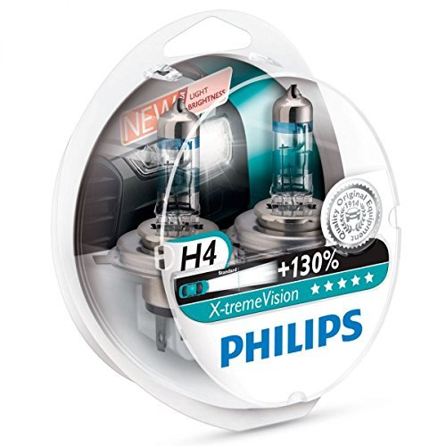 Philips X-treme Vision +130% Headlight Bulbs (Pack of 2) (H4 60/55W) (Philips Driving Lights compare prices)