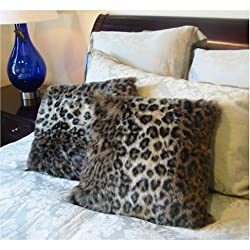 Ocelot Faux Fur Aminal Print Pillow Cushion Cover