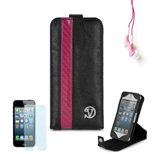 Elegant Vangoddy Repetto Collection Black And Pink Thick Grain Leatherette Apple Iphone 5 Leather Cover With Vertical Stand + Custom Cut Iphone 5 Screen Protector + Compatible Iphone 5 Earbud Earphones