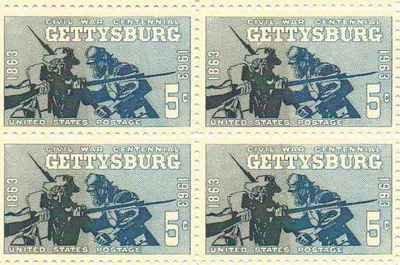 Civil War Gettysburg Set of 4 x 5 Cent US Postage Stamps NEW Scot 1180