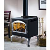 Chimney 57252 1400PL Steel Woodburning Stove Painted Black Order Doors Legs and Louvers Separately