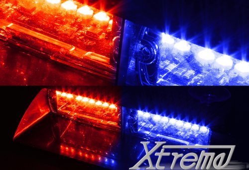 Xtreme® Red & Blue 16 Led High Intensity Led Law Enforcement Emergency Hazard Warning Strobe Lights For Interior Roof / Dash / Windshield With Suction Cups