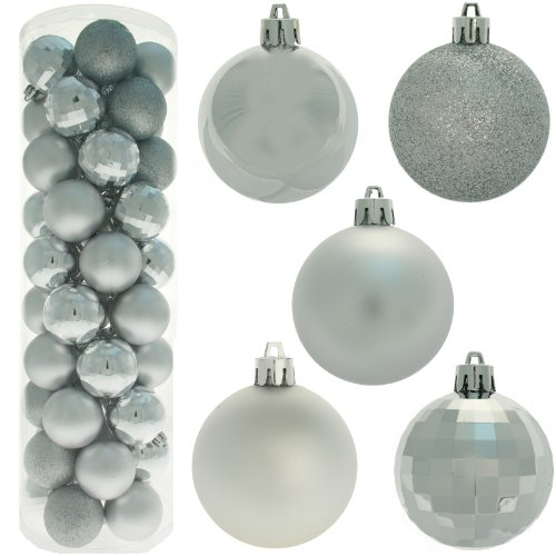 50 Piece Colour Co-ordinated Christmas Tree Bauble Pack - Silver