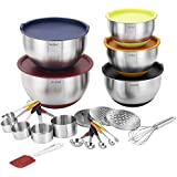 VonShef 20 Piece Premium Mixing Bundle, 2 Year Free Warranty, 5 Stainless Steel Mixing Bowls, Measuring Spoon Set, Measuring Cup Set, Graters, Whisk & Spatula