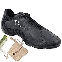 Bundle Lightweight Very Fine Mens Womens Salsa VFSN016 Split Sole Dance Sneaker + Shoe Freshener + Pouch Black Leather 9 M US