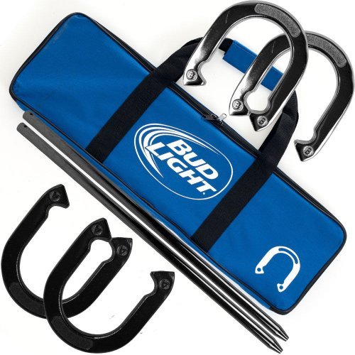 New Backyard Games Officially Licensed Bud Light Professional Horseshoe Game Set