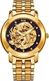 Picture Of BOS Men's 'Dragon Collection' Luxury Carved Dial Automatic Mechanical Bracelet Waterproof Gold Watch 9007