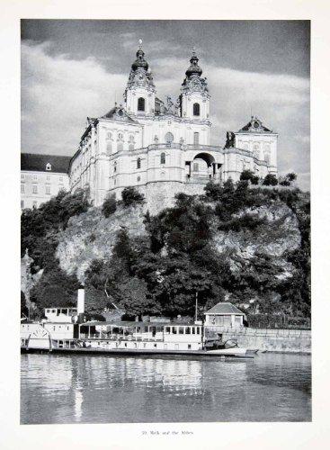 1956 Print Melk Abbey City Austria Nawrath Alfred Wachau Danube Baroque Medilica - Original Halftone Print
