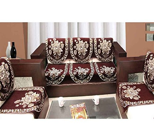 Zesture 6 pieces sofa and chair cover set-brown