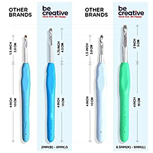 BEST 12 CROCHET HOOK SET WITH ERGONOMIC HANDLES FOR EXTREME COMFORT. Extra Long Crochet Hooks perfect for Arthritic Hands - Smooth Needles for Superior Results and to use with all Patterns and Yarns.