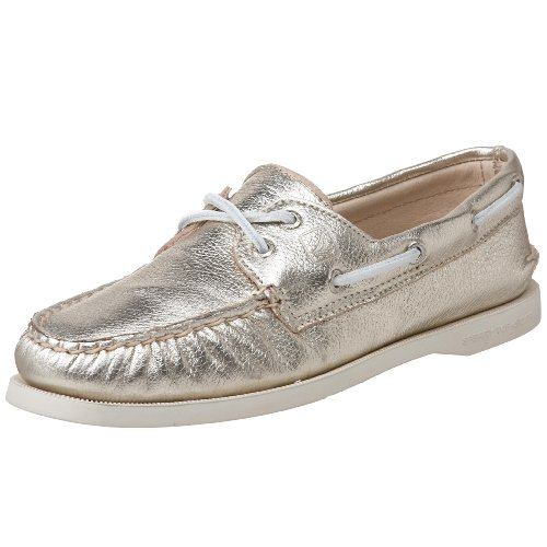 Sperry Women's Authentic Original 2-Eye Boat Shoe Gold Metallic Size 7