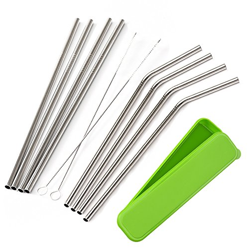 mudder-8-pack-stainless-steel-drinking-straws-with-cleaning-brushes-and-portable-storage-box