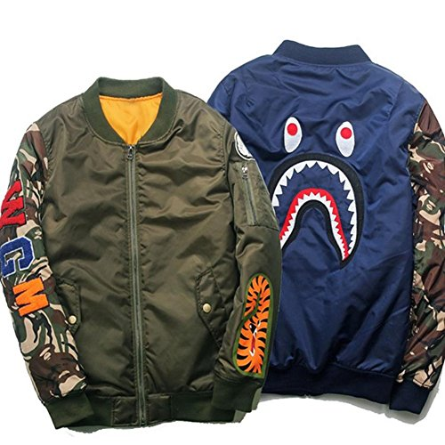 New camouflage Shark Pattern Japanese Winter Air Force Flight Jacket Pilot Youth Casual Bomber Coat Ma1 Thick Stand Zippers (Blue, XL)