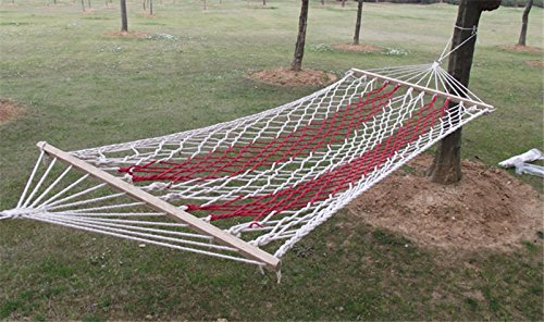 Cooperation Hammocks Large Rope Hammock, Cotton (Red and Beige, 1 Person)