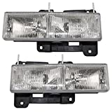 Driver and Passenger Composite Headlights Headlamps Replacement for Chevrolet GMC Pickup Truck 15034929 15034930