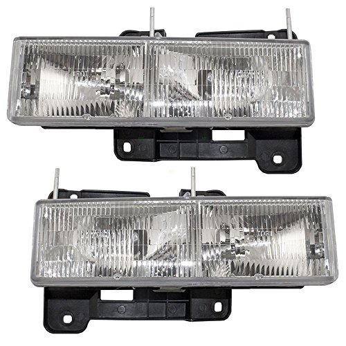 Driver and Passenger Composite Headlights Headlamps Replacement for Chevrolet GMC SUV Pickup Truck 15034929 15034930 (96 Gmc Yukon Headlight Assembly compare prices)