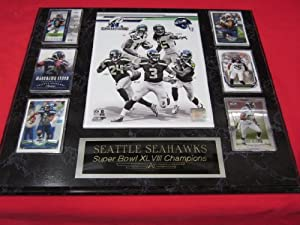 Seattle Seahawks SUPER BOWL XLVIII Champions 6 Card Collector Plaque w 8x10 Photo by J & C Baseball Clubhouse