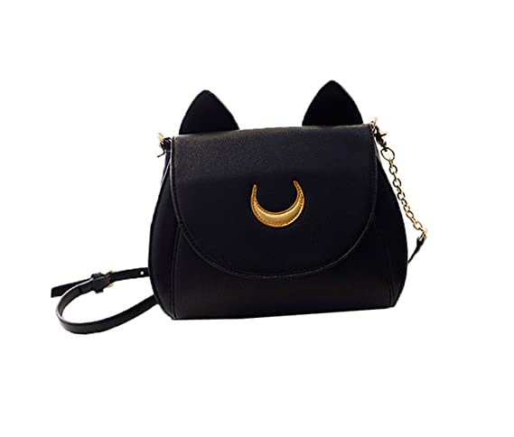 Cosplay Sailor Moon 20th Tsukino Usagi PU Leather Women Handbag Shoulder Bag (Black)