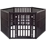 IRIS Plastic Exercise/Containment Pet Pen for Dogs, 6 Panel, Brown