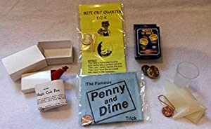 Bite Out Quarter, Dime and Penny, Nickles to Dimes, Find the Hole, and Magic Coin Box - Money Coin Magic Bundle