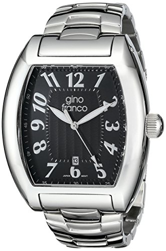 gino franco Men's 9643BK Barrel Shaped Stainless Steel Bracelet Watch