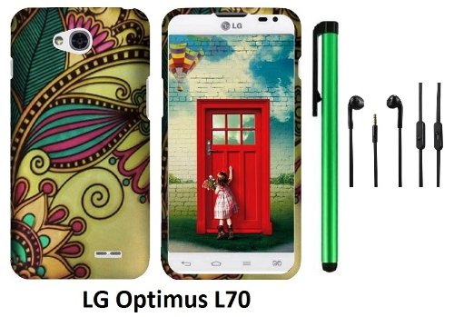 Lg Optimus L70 (Ms323) Premium Pretty Design Protector Hard Cover Case + 3.5Mm Stereo Earphones + 1 Of New Assorted Color Metal Stylus Touch Screen Pen (Antique Totem)