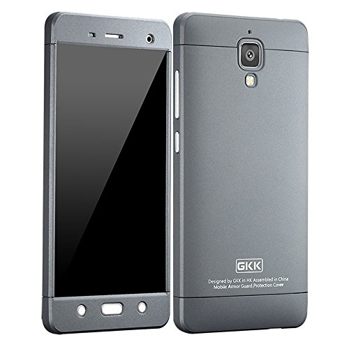 Heartly GKK Double Dip Flip Hard Shell Premium Bumper Back Case Cover For Xiaomi Miui Mi 4 Mi4 - Grey Grey Grey