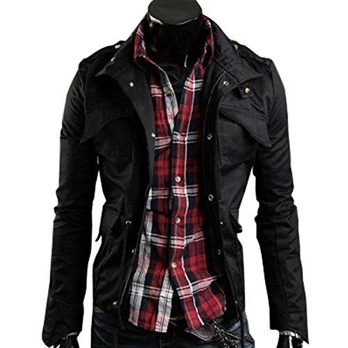 (ミネトメ)Minetom 男性 メンズ ミリタリージャケット ジッパー パーカー 騎士 通学 通勤 3色 4サイズ選択可能 ( ブラック M )