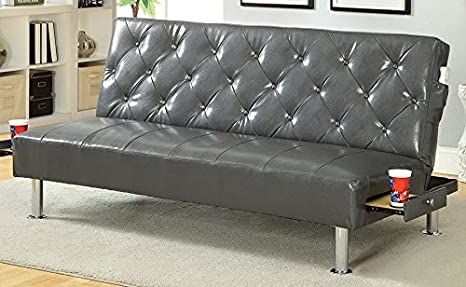 Farel Futon Sofa in Gray by Furniture of America