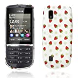 Nokia Asha 300 Stawberry Print Tpu Jelly Rubber Gel Skin Case Cover Plus Screen Protector & Cleaning Cloth