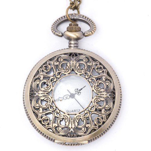 New vintage brass pocket watch pendant locket long chain necklace by 81stgeneration