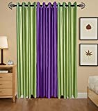 Indian Online Mall Plain Door Curtain (Pack of 2), Green and Purple