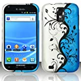 Blue/Silver Vines Design Snap On Protector Hard Case for (T-Mobile Version Only) Samsung Galaxy S II / S2 + 4.5 inches Screen/Lens Cleaning Cloth