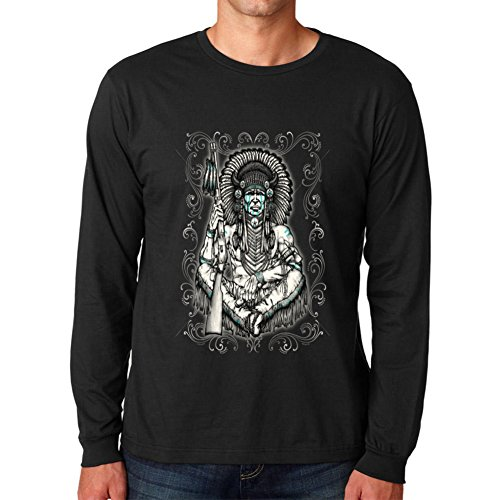 Native American Sitting Indian Chief Long Sleeve T-Shirt Black Large