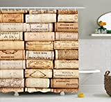 Ambesonne Winery Decor Collection, Different Wine Corks Arranged in a Line Collections French Aged Fine Wine Art, Polyester Fabric Bathroom Shower Curtain, 84 Inches Extra Long, Ivory Peru