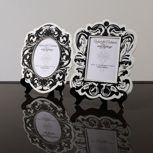 Baroque-Paper-Frames-with-Table-Easels-Small-Black-and-White