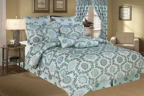 13 Piece Cal King Santa Fe Jacquard Bed In A Bag W/600Tc Cotton Sheet Set front-930966