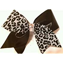Cheer Bow - Black & Grey Cheetah Leopard & Black Metallic Half & Half Cheer Bow - 3 Inch Wide Grosgrain Cheer Bow with Silver Center