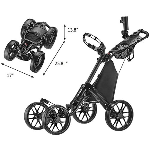 CaddyTek One-Click Folding 4 Wheel Version 3 Golf Push Cart, Dark Grey